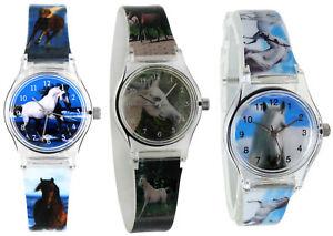 Armbanduhren Kinder Pferd Mädchen Kinderuhr Lernuhr Pferde  Armband Motivuhr neu