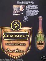 PUBLICITÉ DE PRESSE 1983 CHAMPAGNE MUMM CUVÉE PRÉSIDENT R. LALOU - ADVERTISING