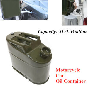 1PCS 5L Motorcycle Car GM Portable Fuel Tank Oil Container Metal Vertical Barrel