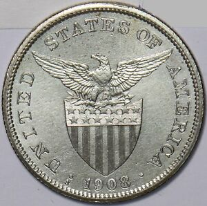 Philippines 1908 S Peso Eagle animal P0281 combine