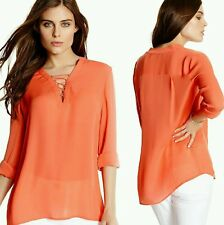 New Guess by Marciano orange chiffon Sunset Blouse top size S