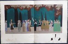 Charles MARTIN Pochoir Art Déco ORIGINAL planche double 1914 GAZETTE DU BON TON