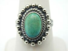 STERLING SILVER OVAL TURQUOISE SOLITAIRE BEAD HALO RING SIZE 7