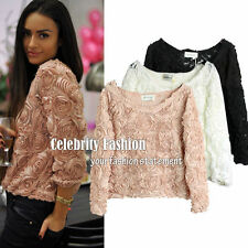 Mesh Long Sleeve Regular Casual Tops & Blouses for Women