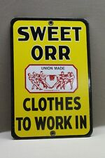 SWEET ORR OVERALLS WORK CLOTHES PORCELAIN SIGN GAS OIL CAR FARM  FORD MOTOR
