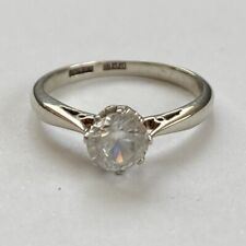 VINTAGE  18CT WHITE GOLD 1.0ct Solitaire Ring Size M.5