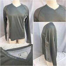 Bontrager Cycling Shirt L Women Gray Poly V Neck Long Sleeve Mint YGI 5158