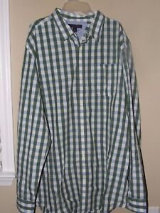 NWT Banana Republic XXLT Dress Shirt Blue Green Plaid Button Slim Long Sleev Men