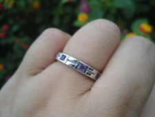 Natural AMETHYST Birthstone 925 STERLING SILVER Eternity RING S6.50