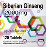 120 x Siberian Ginseng 2000mg High Strength Energy Boosting Supplement