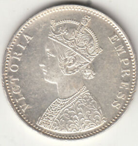 1877 BRITISH INDIA QUEEN VICTORIA ONE RUPEE SILVER COIN HIGH GRADE