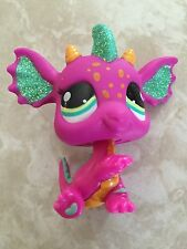 Littlest Pet Shop RARE Dragon #2663 Sparkle Glitter Teal Green Purple