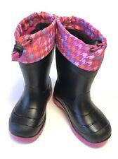 Kamik Boots Girls 10 Black Pink Winter Snow Rain Lined
