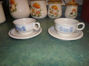 PFALTZGRAFF YORKTOWNE SET OF 2 COFFEE & TEA CUP SET W/SAUCERS STONEWARE