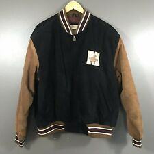 Vintage Disney Store Mickey Mouse Tan Black Suede Leather Bomber Jacket Size L
