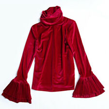 Lady Velvet Shirt Turtleneck Flare Sleeve Retro Stretch Top Pullover Elegant Red