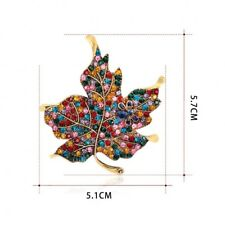 Fashion Design Rhinestone Maple Leaf Brooch Pin Gift for Ladies Dress Scarf