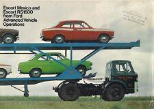 Ford Escort México y RS 1600 Mk1 1971-72 mercado del Reino Unido Folleto de ventas