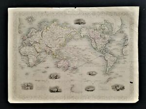 1851? antique JOHN TALLIS MAP the WORLD of MERCATOR'S PROJECTION color