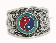 Ying Yang Bracelet Cuff Bracelet Silver Bracelet Boho Bracelet Turquoise Coral