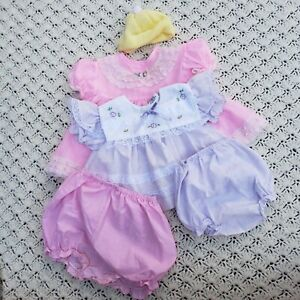 Vtg Baby Girl Clothes Lot Fancy Dresses Knit Cap Bottoms 5 pc - 6 to 9 months