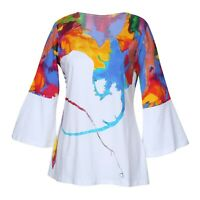 Parsley & Sage Women's Watercolor Tunic - Colorful 3/4 Bell Sleeve Top