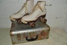 Vintage Leather Upper Indoor Roller Rink Skates, Mens 9-womens 10.5 w/Metal Case