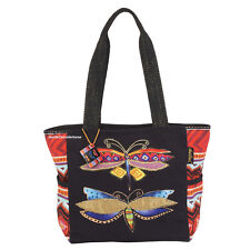 Laurel Burch Colorful Dragonflies Medium Tote Bag Outside Pockets New