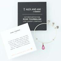 New ALEX AND ANI Rose Crystal Love Bangle Charm Bracelet Swarovski Pink