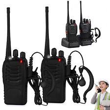 2Pcs Walkie Talkie 2 way Radio Long Range 16CH BF-888S UHF 400-470MHZ Earpiece