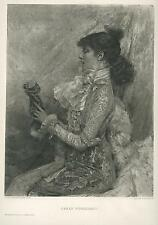 ANTIQUE PORTRAIT ACTRESS SARAH BERNHARDT SCULPTURING MOLDING CLAY OLD ART PRINT
