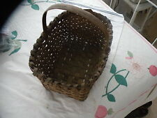 "Antique Basket, 16"" x 11"" x 7""H, Wicker, w/Handle,Good Cond"
