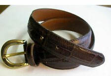 "GUESS Collection Brown Croco Leather Belt MEDIUM 29.5"" Buckle Made in Italy VGUC"