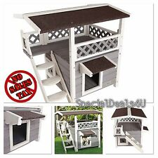 Cat House Outdoor Feral Cats Backyard Shelter Condo Kitty Kennel Furniture Yard
