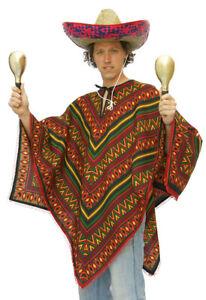 Poncho Kostüm Mexiko Mexikaner Mexikanisches Herrenkostüm Karneval Fasching KK
