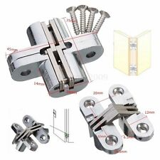 2PCS Hidden Hinge Stainless Steel Hinges Concealed Barrel Wooden Box Kit New