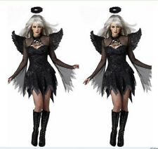 Womens Angel Wings Sexy Female Ghost Bride Demon Halloween Costume Stage Costume