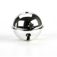 SET OF FOUR 2-3/4 Inch 70mm Silver Jumbo Large Jingle Bell with Star Cutouts
