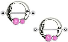 Nipple Shield Rings barbell  Crescent Moon Nipple Opal Nipple Bar  pair 14 gauge