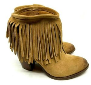 FRYE Tan Suede Ankle Bootie Fringe Pull On Block Heel Leather Sole Size 9 Mexico