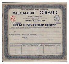 CERTIFICAT PARTS BENEFICIAIRES ALEXANDRE GIRAUD