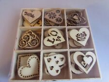 Box of 45 Wooden Die Cut Hearts 28mm Embellishments, Card Toppers, Craft Hearts