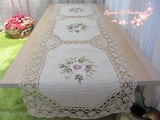 """Hand Crochet Lace Ribbon Floral Table Runner~16""""*54""""~ Beige~Romantic Cottage Chic"""