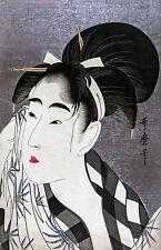 Utamaro - 1798, Ase o fuku onna (Woman wiping sweat) Japanese Art, Canvas Print