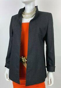 Akris Black Label New 8 US 44 IT 38 D M Gray Wool Blazer Jacket Coat Runway Auth