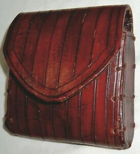 Jedi Knight Basic Original Size Hand-Carved Ribbed British Tan Leather Pouch