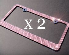 2 PCS Bling 7 Rows PINK Crystal Diamond Metal License Plate Frame+ Free Caps