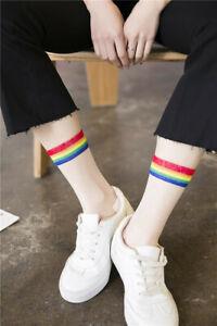 Unisex Sheer Mesh Transparent Rainbow Socks Rainbow Ankle Socks