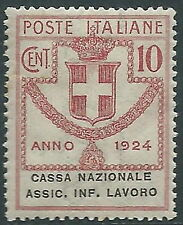 1924 REGNO ENTE PARASTATALE ASSIC. INF. LAVORO 10 CENT MNH ** - E92
