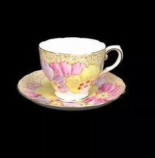 Antique Tuscan Made In England Porcelain Oversized Floral Tea Cup and Saucer